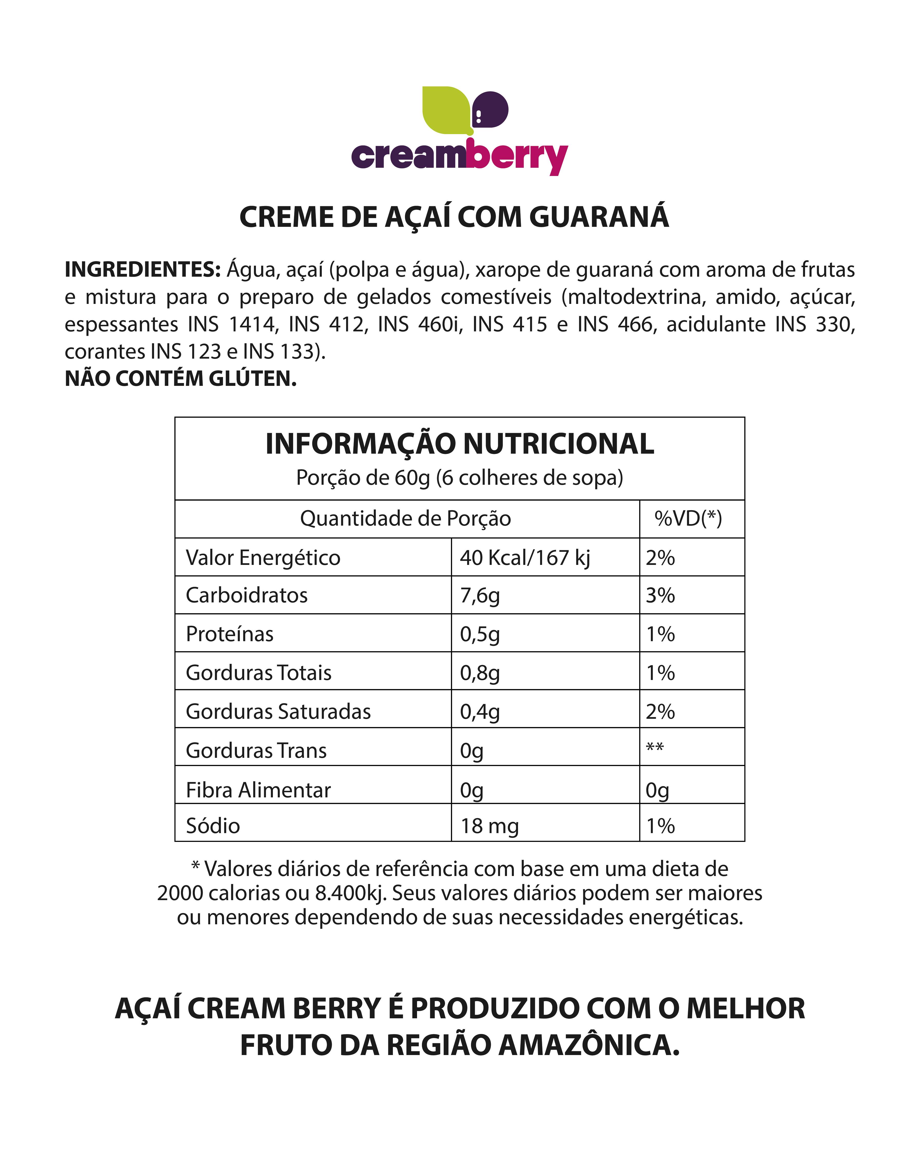 imagem da tabela nutricional do açaí cream berry